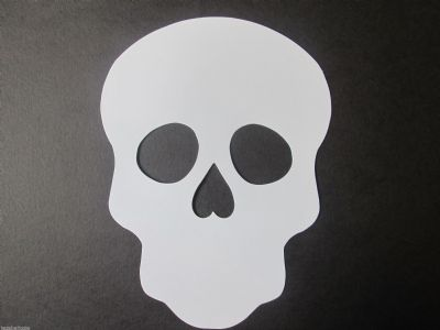 Large Skull  WHITE Die Cut Mask Day of the Dead Halloween